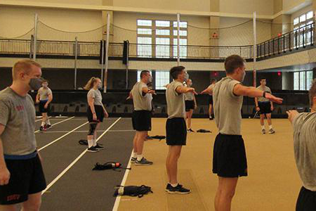 Photo of VMI AFROTC Cadets social distancing during PT, photo by Cadet Bridget Hughes '22