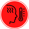 Line icon of thermometer and face with fever