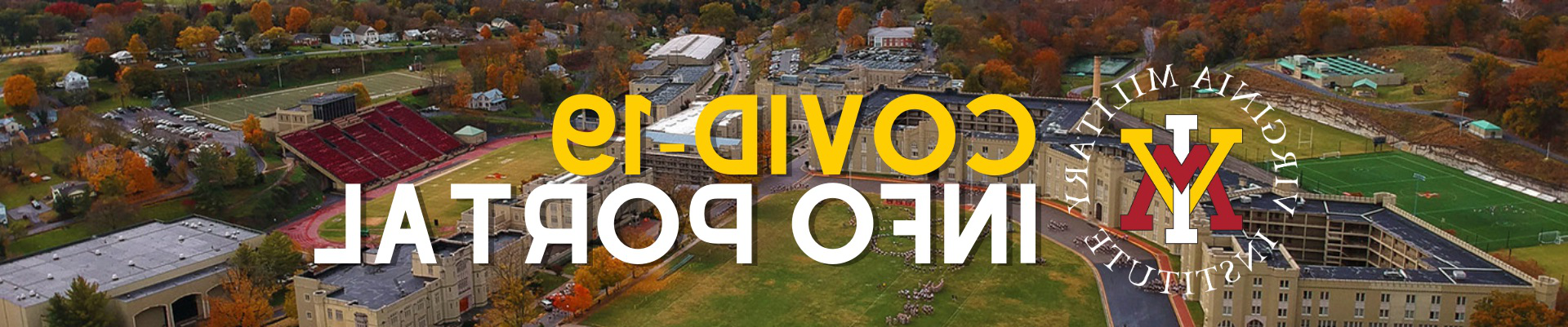Aerial photo of post with logo and text of COVID-19 Info Portal