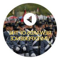 Button indicating click to play video about the Rewards of the VMI experience. Button has of cadets in Parade