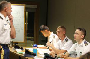 Col. Gray interacts with Cadets in HI370L PS344